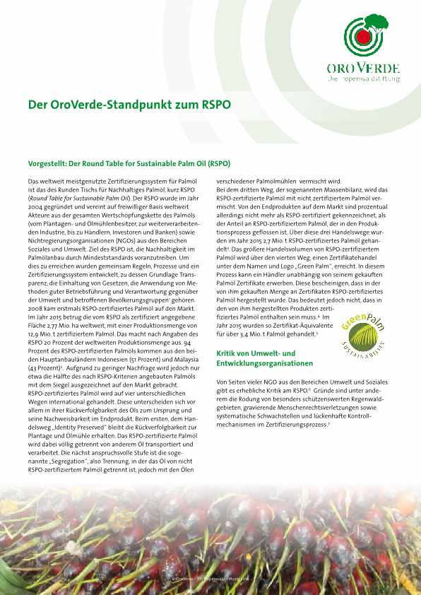 Positionspapier von OroVerde zu Round Table of Sustainable Palm Oil (RSPO).
